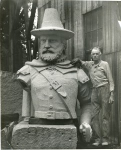 The Duxbury Rural & Historical Society recently acquired this photograph of sculptor John Horrigan with Myles Standish's head, 1930.